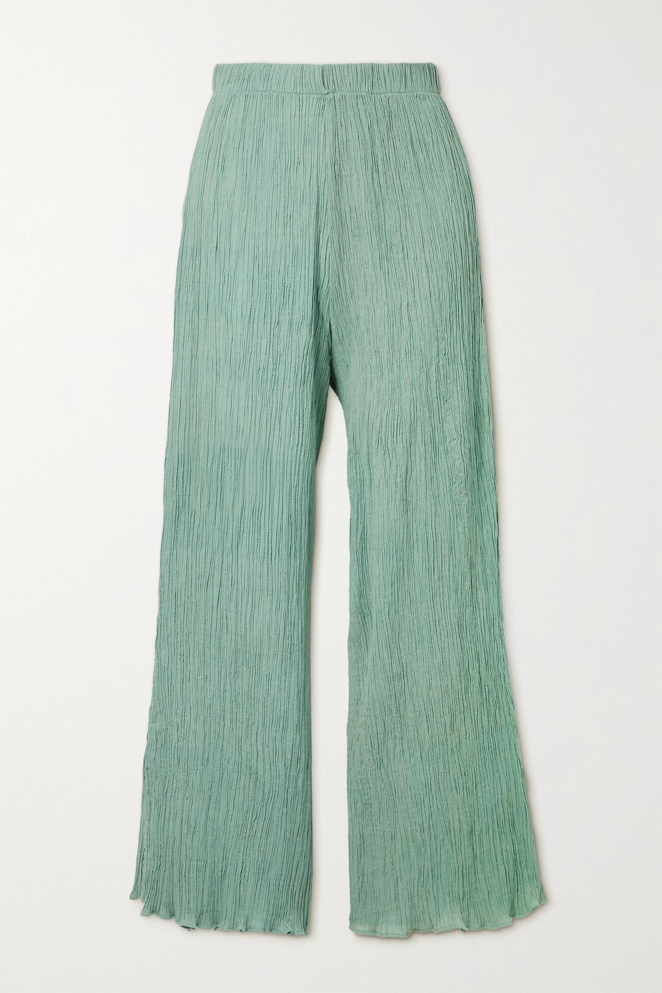 SAVANNAH MORROW THE LABEL - 【net Sustain】june 褶皱有机纯棉薄纱长裤 - 绿色 - large