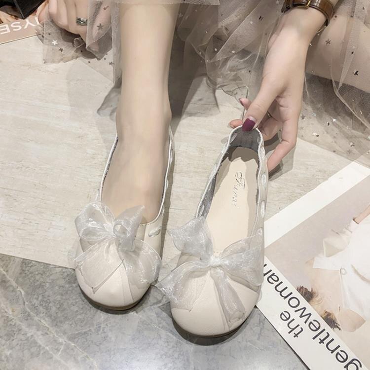 單鞋 單鞋女春夏季新款韓版百搭淺口平底豆豆網紅溫柔仙女奶奶瓢鞋