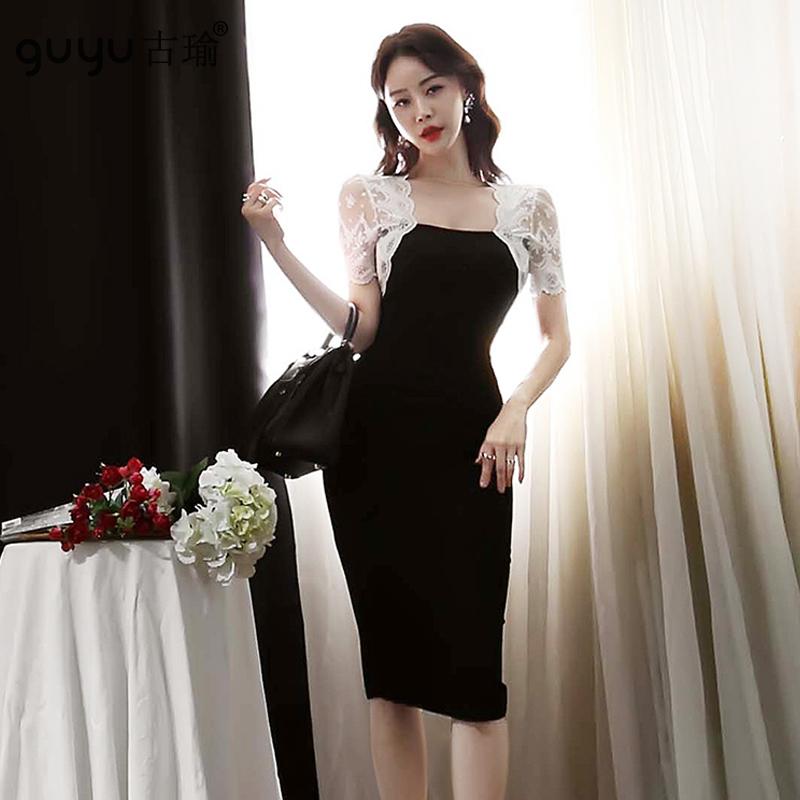 緊身輕熟女洋裝 S-XL韓版白色蕾絲撞色及膝顯瘦洋裝包臀連衣裙