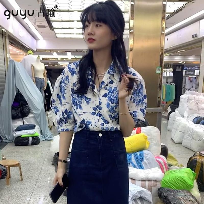 夏天碎花襯衫韓國女生穿搭短袖T恤休閒襯衣