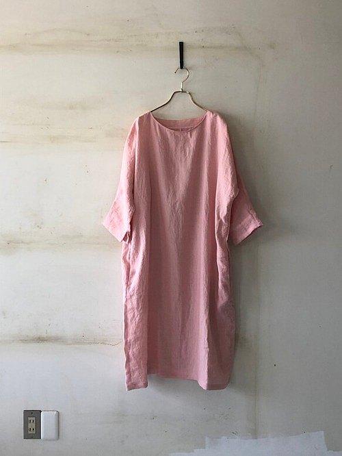 多爾曼袖子連衣裙*立陶宛亞麻櫻花粉紅色[定做]