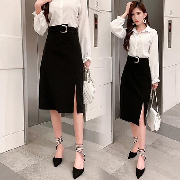 不規則中長款高腰半身裙修身顯瘦A字裙開叉一步裙女非A043.依品國際