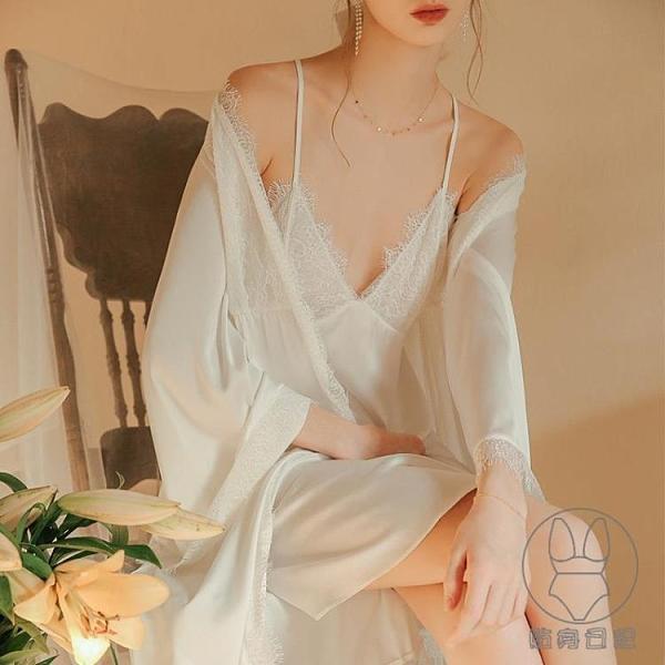 冰絲睡衣女長袖高級性感吊帶裝絲綢薄裙晨袍夏季【貼身日記】