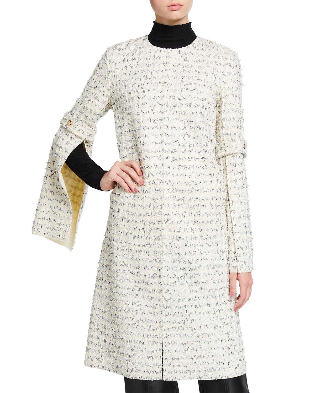 Eyelash-Textured Coat w/ Open-Slit Sleeves
