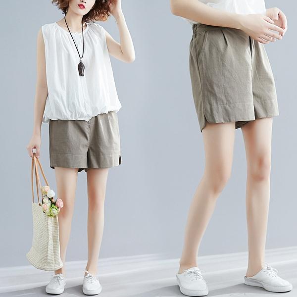 純色短褲M-2XL高腰棉麻大碼寬松顯瘦休閑短褲女MB161.1071 1號公館