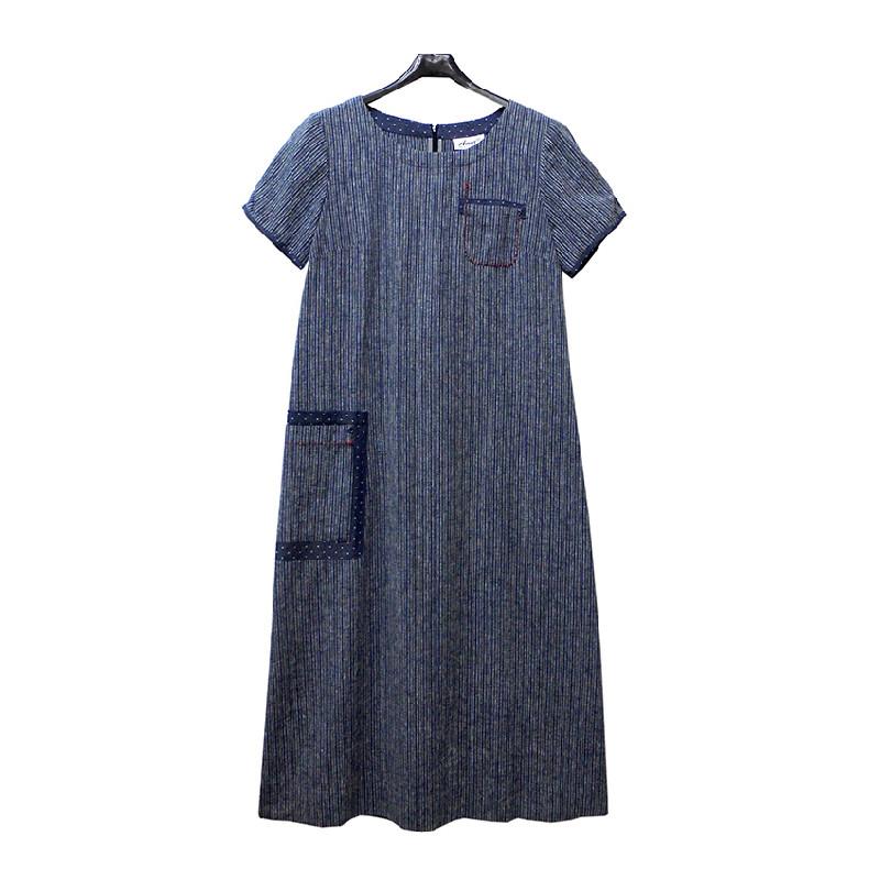 非常衣著 amor直條紋拼接口袋設計短袖長洋裝