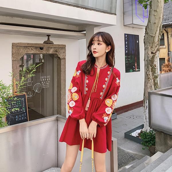 洋裝 韓系度假民族風波西米亞復古刺繡連身裙 花漾小姐【預購】