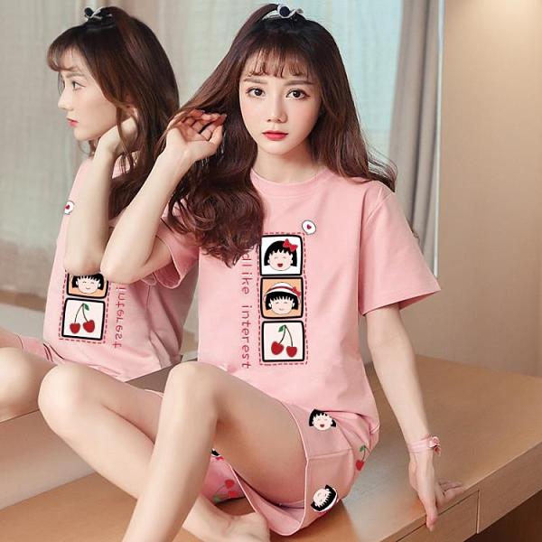睡衣 2021網紅爆款夏季短袖睡衣女棉質薄款韓版可愛學生套裝家居服夏天 百分百