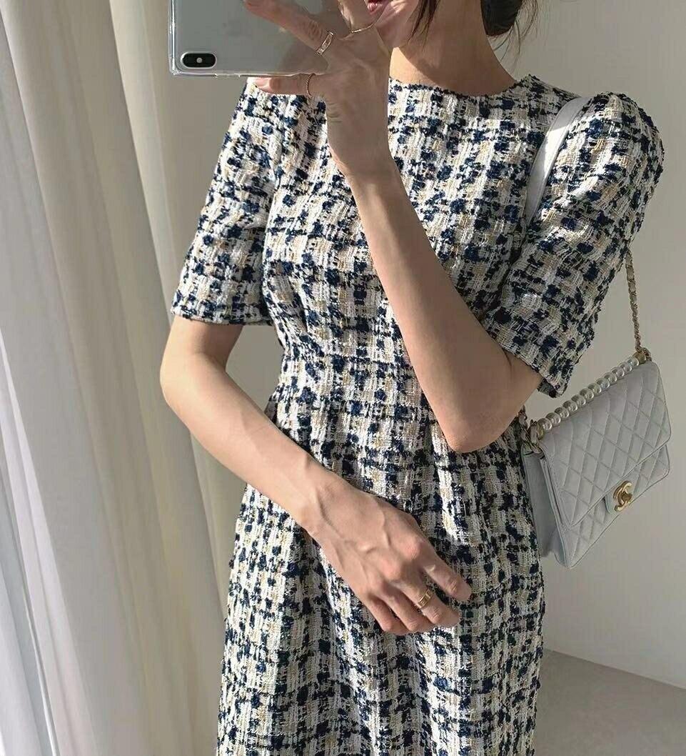 洋裝 韓系春夏名媛風氣質復古公主袖小香風高腰修身連身短裙 共2色 依米迦
