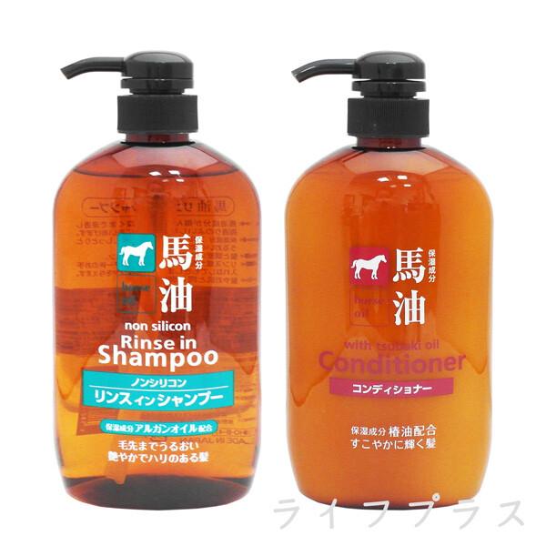 一品川流日本馬油深層洗髮精-600ml+馬油護髮乳-600ml