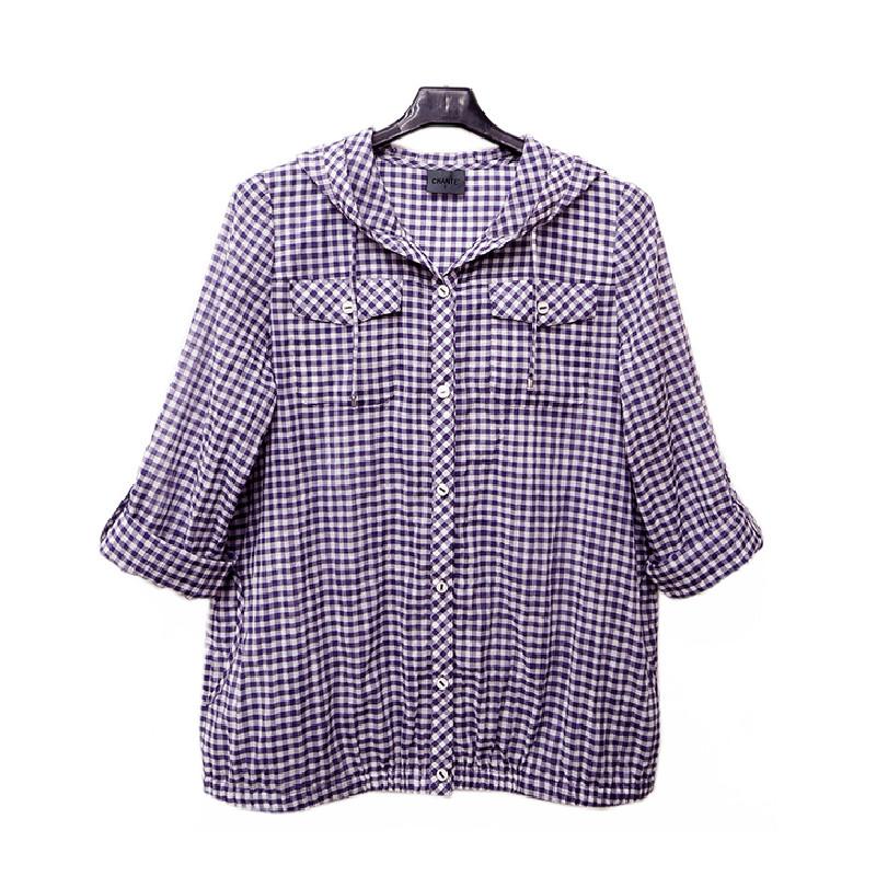 非常衣著 香緹 chante'紫色小格紋連帽長版罩衫