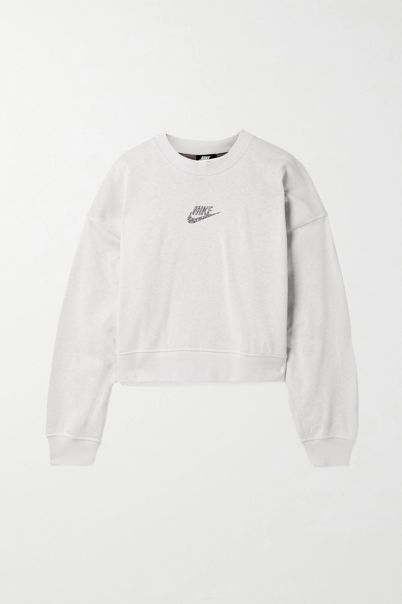 NIKE - Sportswear 大廓形印花棉质混纺平纹布卫衣 - 灰色 - x large