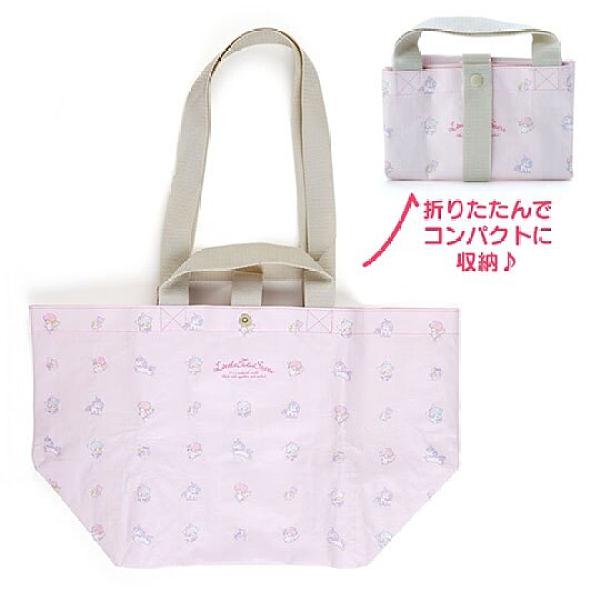 小禮堂 美樂蒂 船形扣式防水購物袋 環保購物袋 防水側背袋 手提袋 (粉 滿版) 4550337-50285