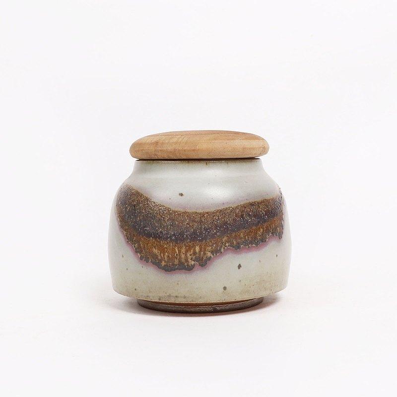 明芽窯 l 灰釉紫嫣茶葉罐(含木蓋)