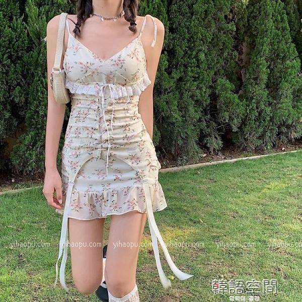 碎花裙 法式性感碎花吊帶仙女裙子春夏季蕾絲復古短裙2021新款魚尾洋装