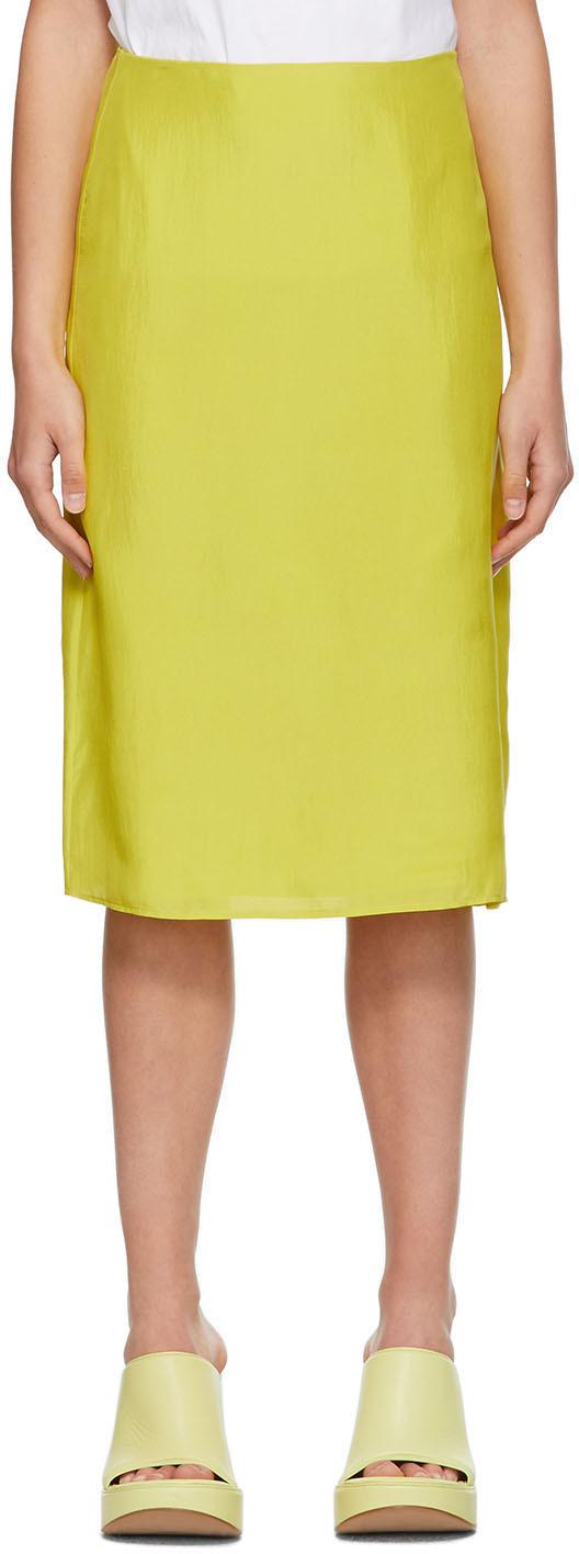 Nina Ricci 黄色 Classic A 字型真丝短裙