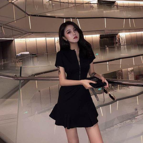 新款慵懶風荷葉邊連衣裙 洋氣赫本風拉鏈小黑裙 時尚顯瘦氣質短袖洋裝 女生衣著韓妞必備閨蜜實拍正韓女裝CC04160