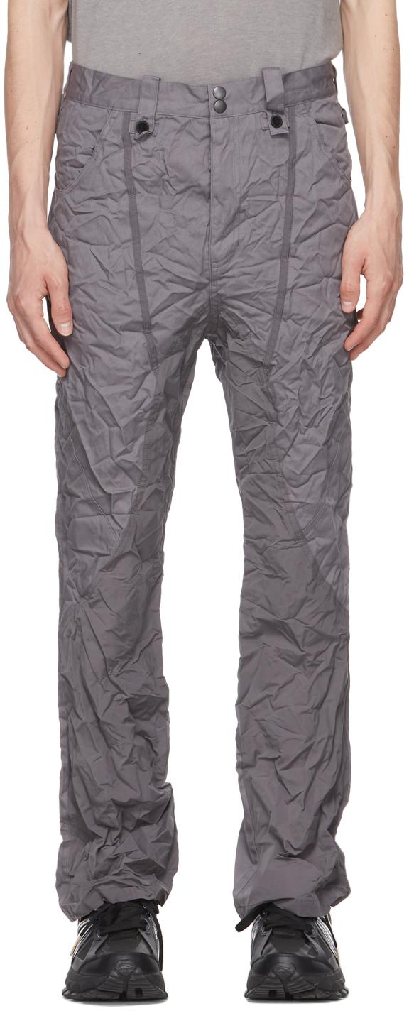 Blackmerle 灰色褶皱喇叭裤
