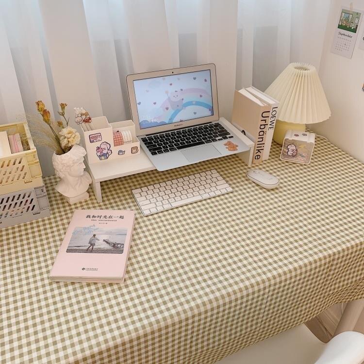 桌布 少女心放映室 ins加絨布藝桌布 小清新格子學生寢室桌面裝飾棉麻