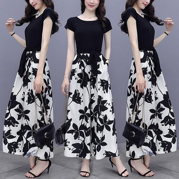 兩件套短袖韓版實拍闊腿褲套裝女夏季新款時尚短袖御姐風休閑兩件套NE406快時尚