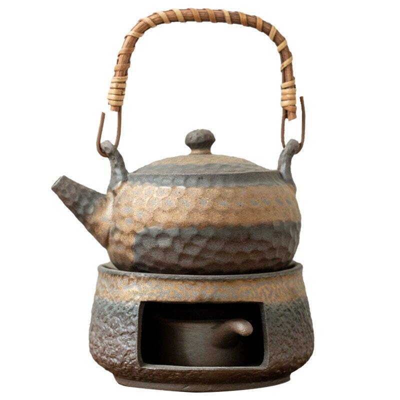 粗陶茶壺溫茶爐套裝陶瓷茶具配件溫酒器保溫蠟燭加熱底座溫茶器