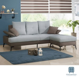 【Hampton 漢汀堡】亞伯蘭布面L型三人沙發