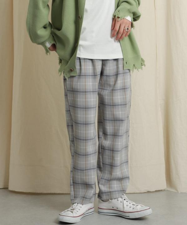 格紋雙打褶錐形長褲(AA14-14A005)