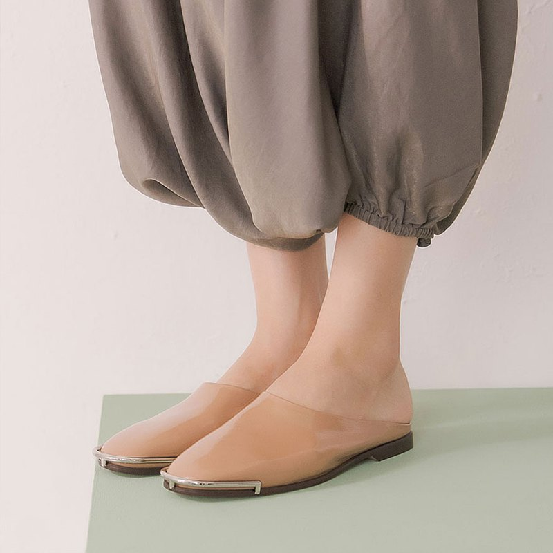 U狀銀邊鞋頭 羊皮拖鞋 粉杏