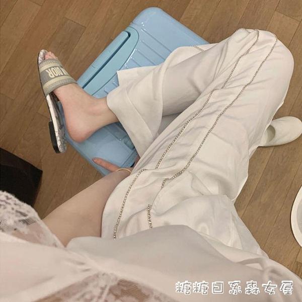 白色休閒褲女夏季薄款高腰學生韓版日繫闊腿褲大碼拖地垂感直筒褲