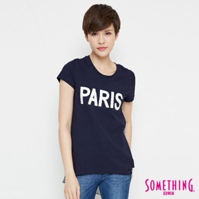SOMETHING 巴黎條紋雪紡剪接T恤-女-原藍色