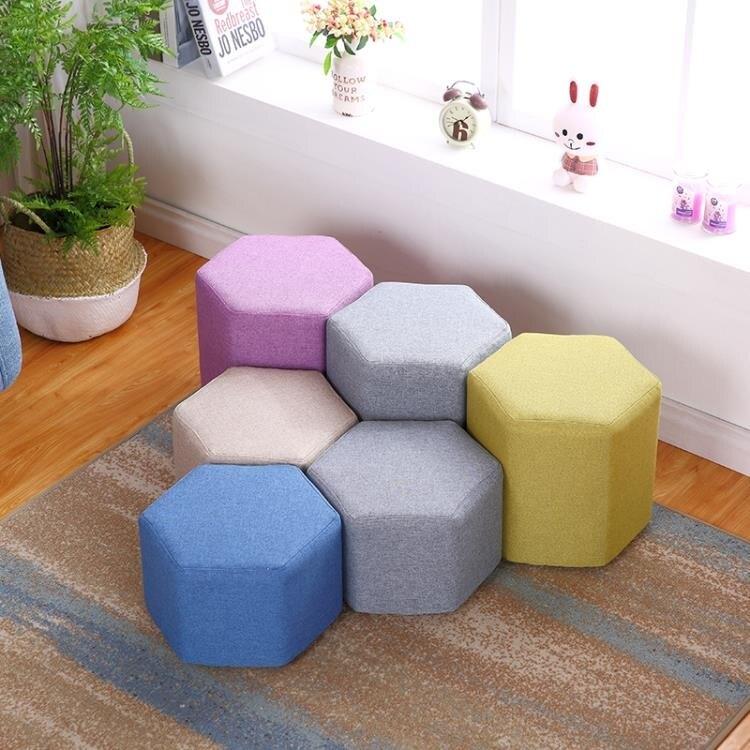 布藝小凳子時尚板凳沙發凳創意成人懶人換鞋方凳客廳家用茶几餐凳WY