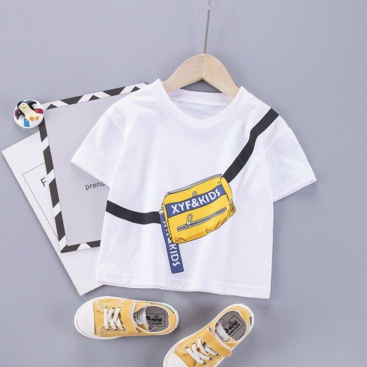 2020夏季新款兒童短袖T恤棉卡通挎包印花男女童汗衫T恤寶寶套頭衫