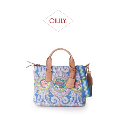 【Oilily】拉鍊式手提側背/斜背包_粉藍_City Rose Paisley