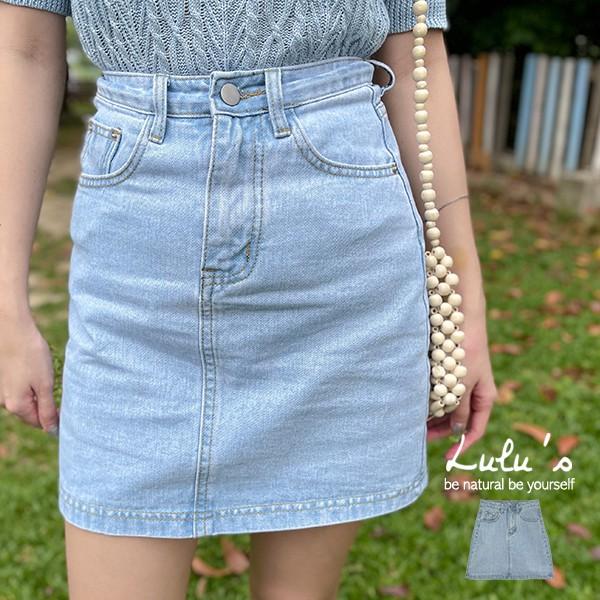 LULUS【A05210031】C配色車線牛仔短裙S-L淺藍0415