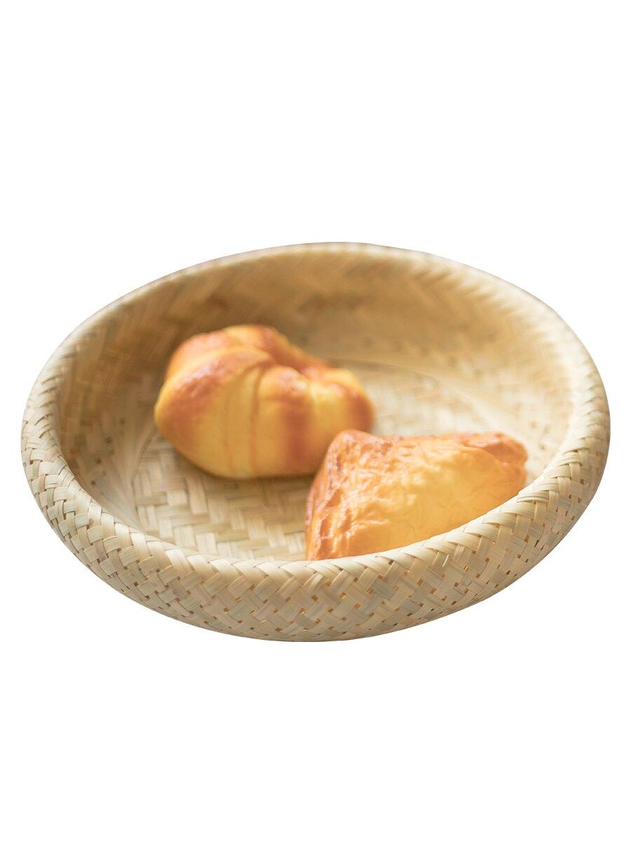 創意家用竹編水果盤點心盤面包托盤酒店茶幾圓形瓜子盤日式饅頭筐