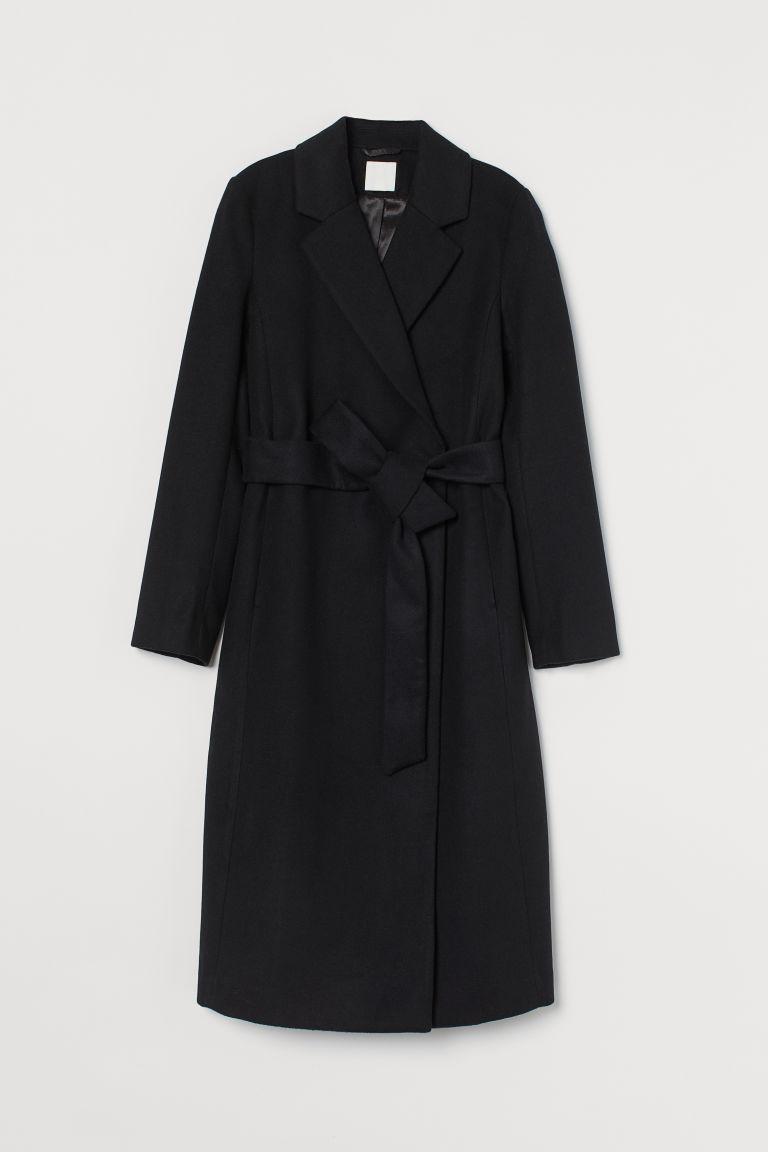 H & M - 綁帶大衣 - 黑色