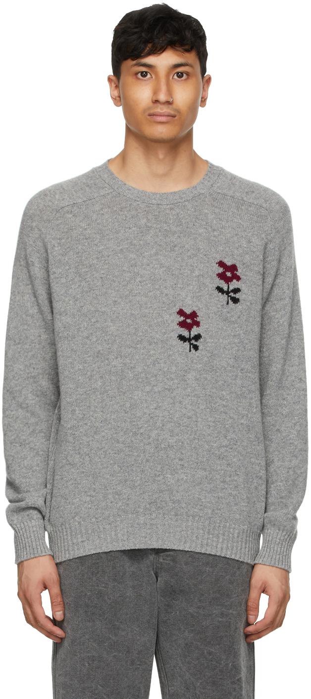 Noah NYC 灰色 Intarsia Flower 羔羊毛毛衣