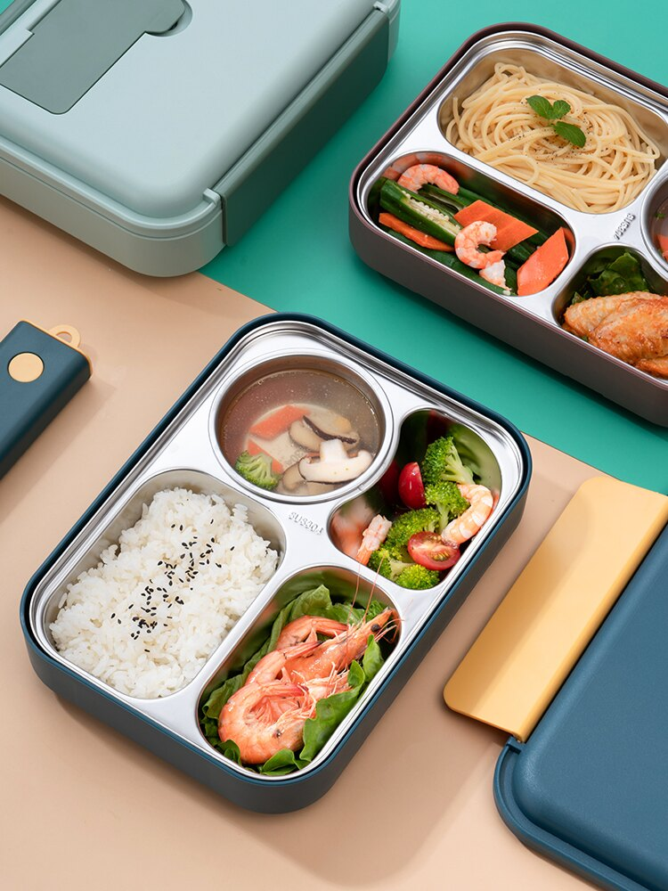 不銹鋼便當盒湯碗一體分隔飯盒保溫分格餐盒學生上班族打飯午餐盒