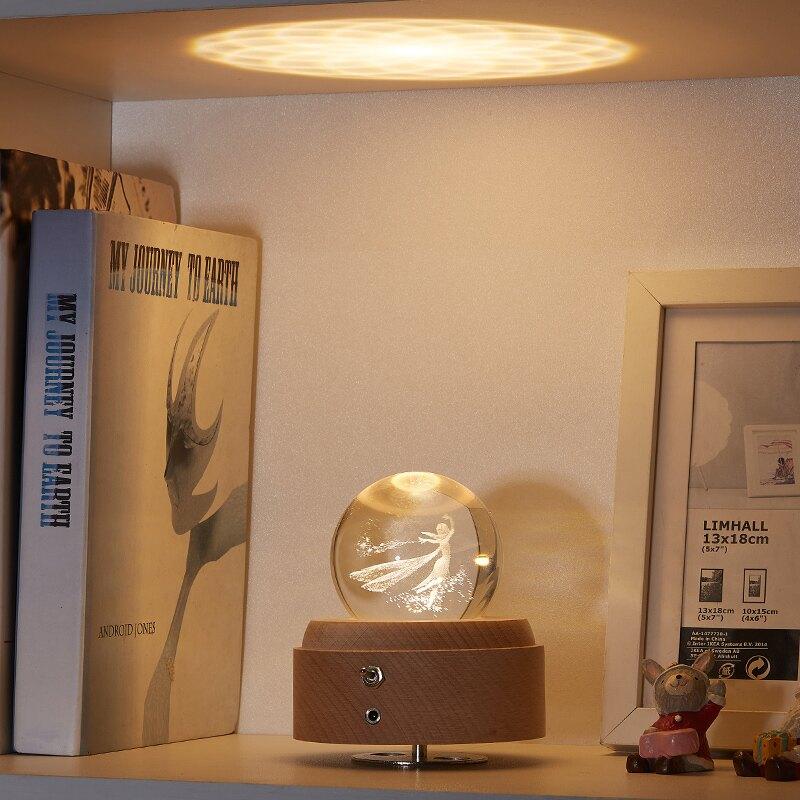旋轉可發光水晶球音樂盒艾莎小仙女裝飾小夜燈兒童生日禮物送女生