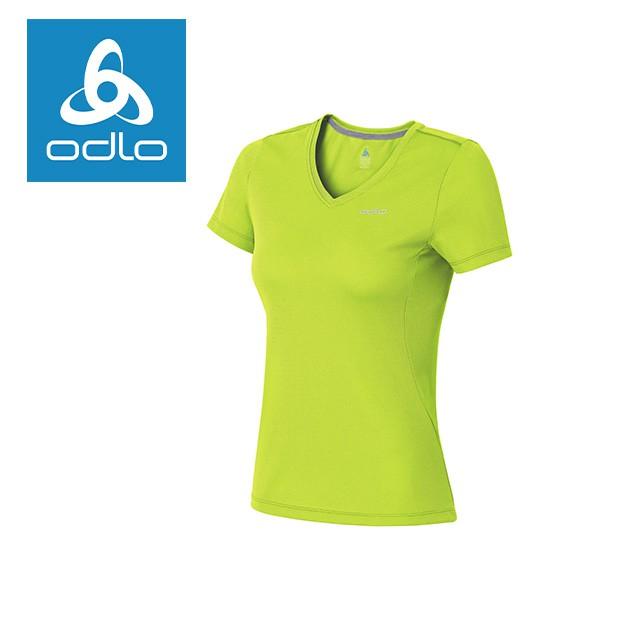 【瑞士ODLO】女套頭衣短V領銀離子抗UV 221811 萊姆綠
