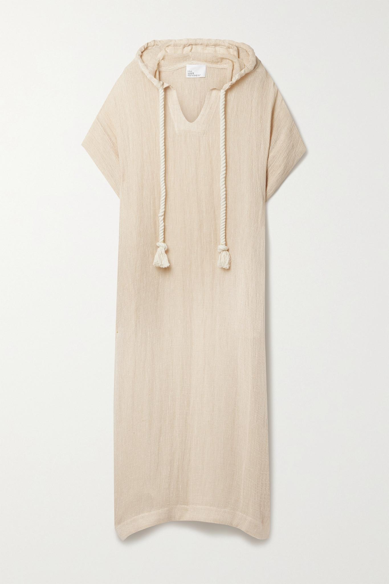 LISA MARIE FERNANDEZ - + Net Sustain Hooded Linen-blend Gauze Kaftan - Orange - 2