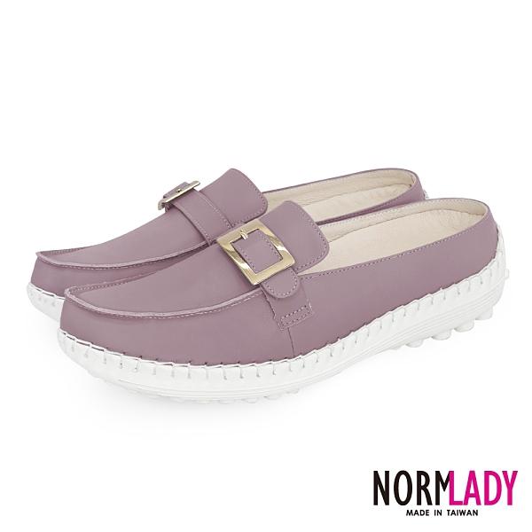 女鞋 穆勒鞋 氣墊鞋 拖鞋 氣質小方釦真皮磁石內增高球囊穆勒鞋-MIT手工鞋(藕芋粉)Normlady諾蕾蒂