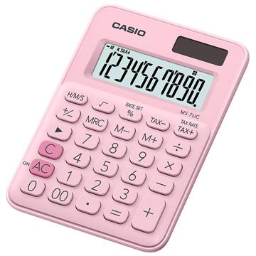 【CASIO 】10位元繽紛馬卡龍色迷你型計算機-草莓粉 (MS-7UC-PK)