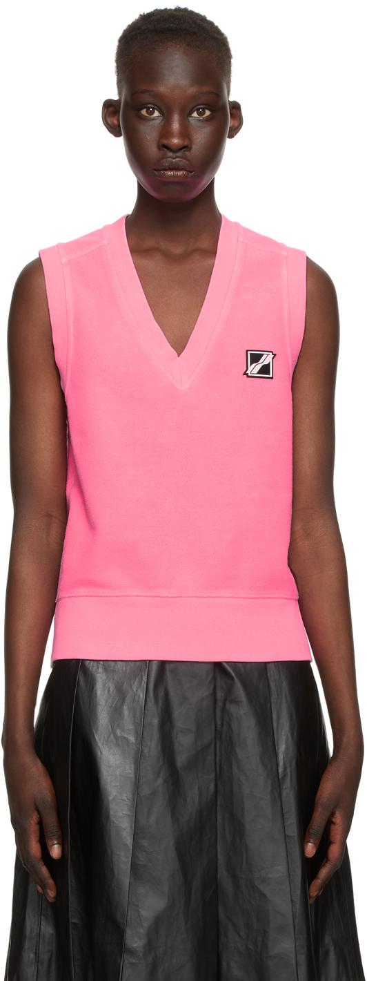 We11done 粉色徽标贴饰 V 领马甲