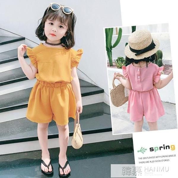 2021夏季新款女童裝潮流兩件套女寶寶短袖短褲雪紡時尚套裝 母親節特惠