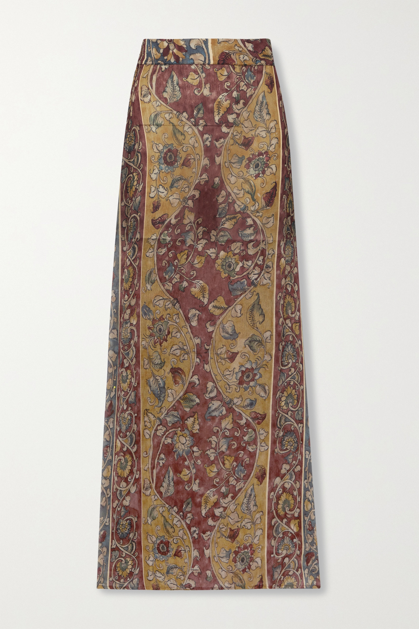SAVANNAH MORROW THE LABEL - + Net Sustain Iris Printed Silk-crepon Maxi Skirt - Brown - small