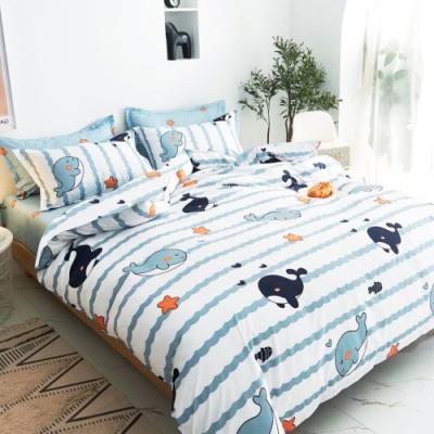 A-ONE 雪紡棉 雙人床包/枕套三件組-睡覺鯨魚