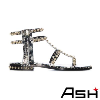 ASH 2020春夏新款 POWER BIS 流蘇金屬真皮平底羅馬涼鞋 黑色