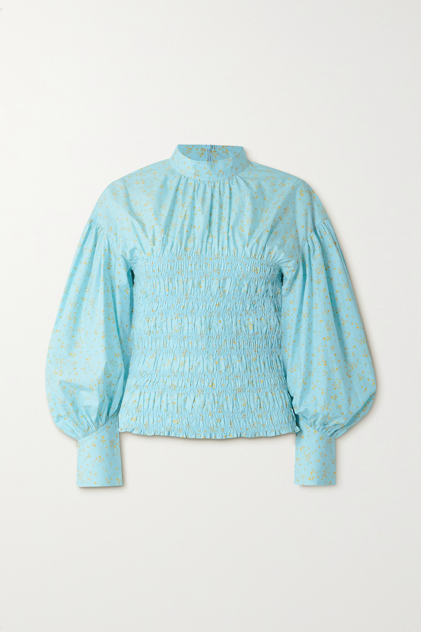GANNI - Shirred Floral-print Organic Cotton-blend Poplin Blouse - Blue - DK40