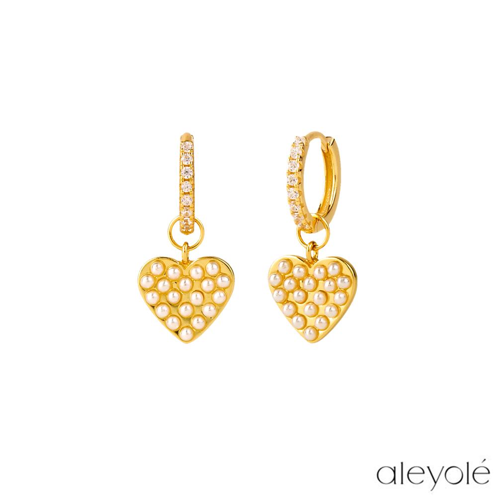 【Aleyolé】西班牙時尚 Pearl Heart 愛戀珍珠鍍18K金耳環